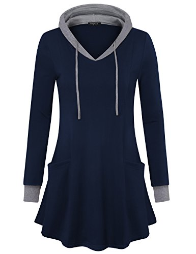 VALOLIA Sweatshirt Dress, Ladies V Neck Long Sleeve Novelty Hoodies Casual Soft Knit Hooded Tunic Tops Dark Blue X-Large ()