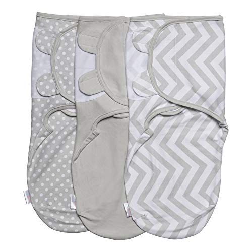 Baby Swaddle Wrap Pod Blanket- Swaddle Set - 3 Pack Soft Cotton Swaddle Blankets - Grey Small 0-3 Months