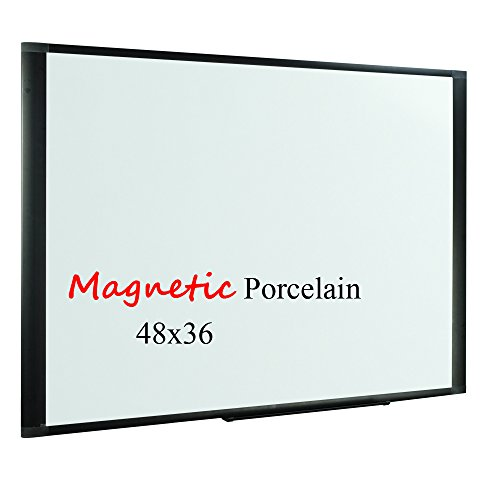 Lockways Porcelain Magnetic Dry Erase Board - Whiteboard/White board 48 x 36, Black Aluminum Frame, Office Whiteboard with Removable Marker (Magnetic Porcelain Dry Erase)