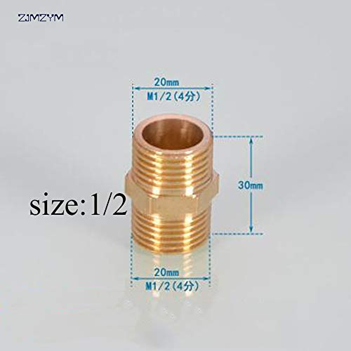 (Maslin Hot sale 1/2'',3/4'',1'' Brass copper Pipe Fitting Adapter Coupler Straight Connector for Water Gas Oil Tube - (Thread Specification: 3/4