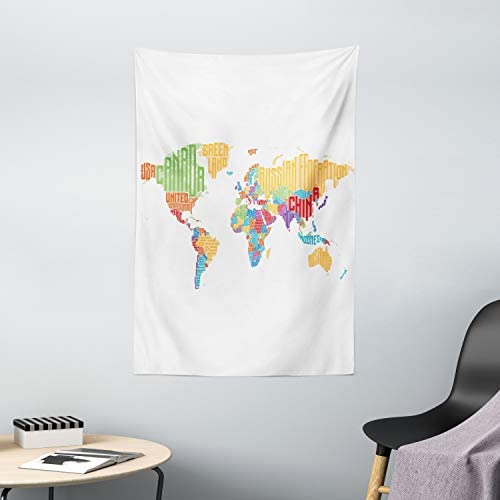 Ambesonne World Map Tapestry, Colorful High School Classroom Map with Names of Countries Educational Print, Wall Hanging for Bedroom Living Room Dorm Decor, 40 X 60 , Red Orange