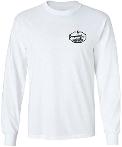 Mens New Cotton Hawaiian Shirt (Joe's USA Koloa Big Game Fish Logo Long Sleeve Cotton T-Shirt-White/b-L)