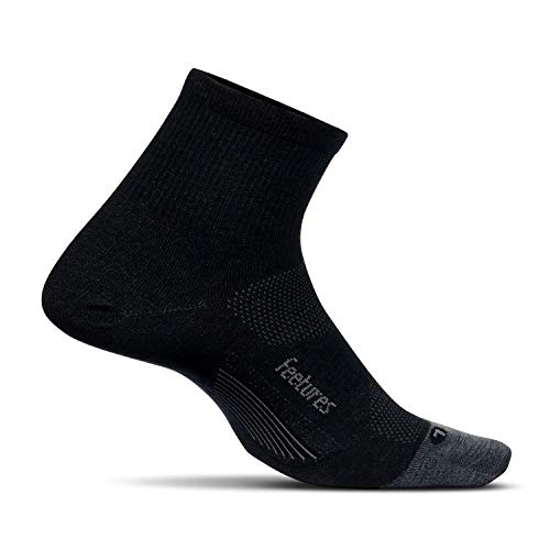 Feetures! Men's Elite Merino+ Ultra Light Quarter, Charcoal + Lava, Large