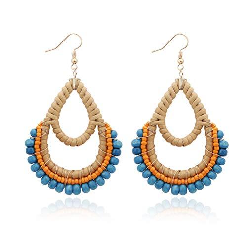 Bohemia Rattan Blue Wooden Beads Fish Hook Teardrop Earrings Dangle Drop Jewelry for Women Girls