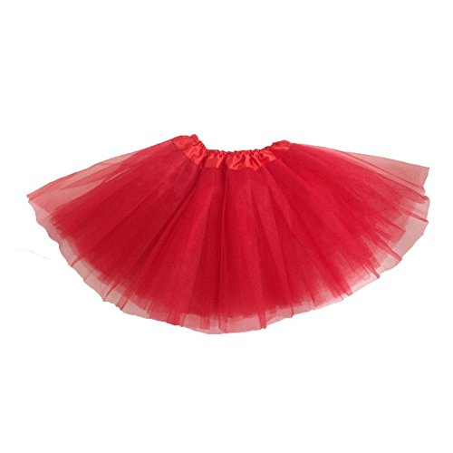LQZ(TM) Femme Fille Jupe Tutu Bal Ballet Princesse Mini Danse 3 Couches Rouge