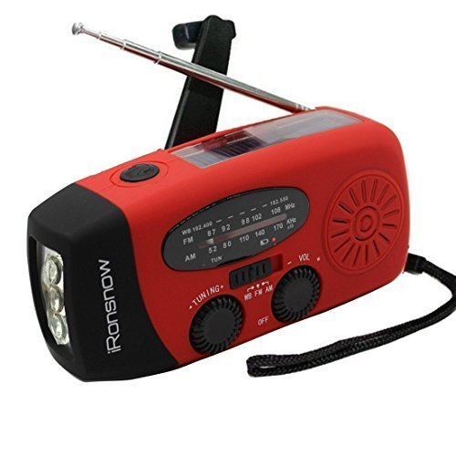best birthday present for boyfriend, iRonsnow IS-088 Dynamo Emergency Solar Hand Crank Self Powered AM/FM/NOAA Weather Radio, LED Flashlight, Smart Phone Charger Power Bank with Cables