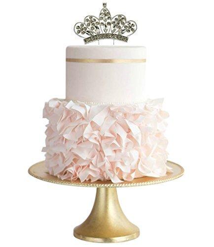 Cake Topper Sparkle Rhinestone Princess Cake Topper Crown Cake Topper Princess Party Baby Shower Cake Topper (4.0 inches, Clear)