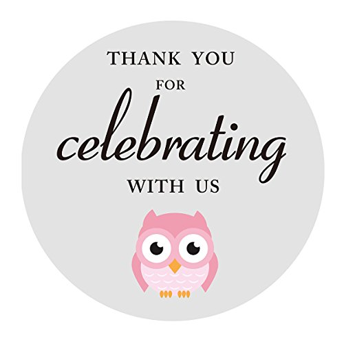 MAGJUCHE Pink Grey Owl Thank You Stickers, Girl Baby Shower or Birthday Party Favors Labels, 2 Inch, 40-Pack -