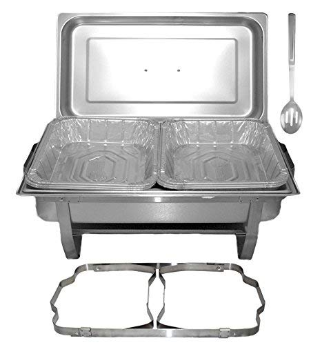 Tiger Chef 8 Quart Full Size Stainless Steel Chafer with Folding Frame and Cool-Touch Plastic on top - includes 6 Disposable Half Size Pans and a Slotted -