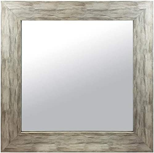 Raphael Rozen , Elegant, Modern, Classic, Vintage, Rustic, Hanging Framed Wall Mounted Mirror, Distressed Wood Finish, Gray – White Color Custom Size