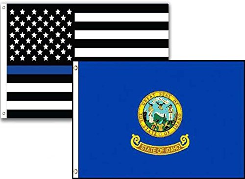 ALBATROS 3 ft x 5 ft USA Police Blue Idaho State 2 Pack Flag Set Combo for Home and Parades, Official Party, All Weather Indoors Outdoors
