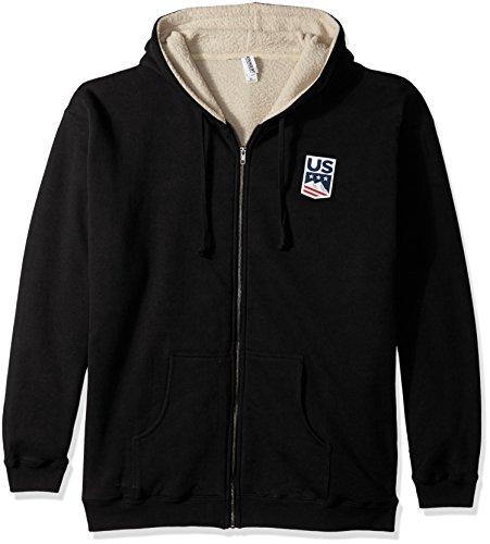 US Ski-Snowboard Licensed Apparel U.S. Ski Team Logo Sherpa Lined Hoodie, Black, Small (Best Snowboard Apparel Brands)
