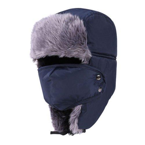 OKOKMALL US--WINTER SOFT FUR USHANKA TRAPPER HAT MENS EARFLAP SKI HAT AVIATOR HUNTING CAP (New Earflap)