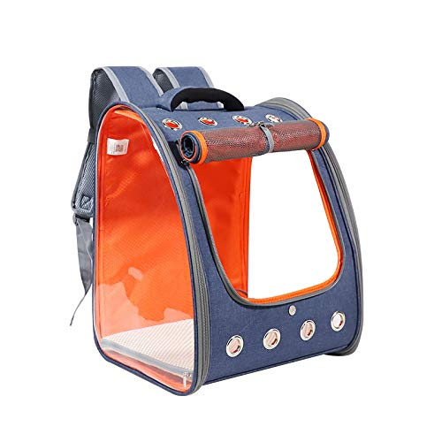 Kismaple Pet Cat Carrier Backpack Airline Approved,Transparent,Ventilated,Safe Leash,Hard Pad,Foldable Puppy Small Dog Backpack Carrier for Travel Hiking Walking Train Bike Outdoor (Blue and Orange)