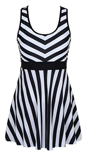 Womens-One-Piece-Sailor-Striped-Bathing-Suit-Plus-Size-Cover-up-Swimdress