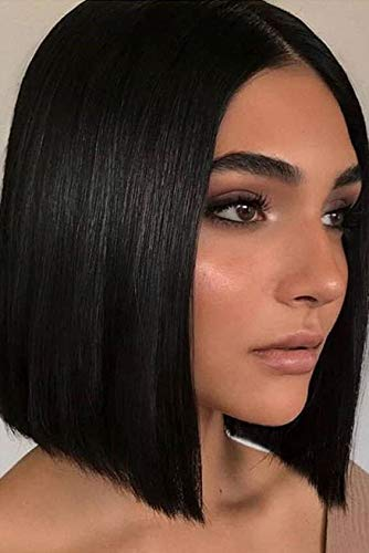 AISI BEAUTY Short Wigs for Women Black Straight with Lace Wig Shoulder Length Wig Middle Part Hairline Wig Synthetic Fiber Hair Wig Black Bobo Straight Hair Wig for Women Daily Party Use