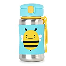 Skip Hop Zoo Insulated Stainless Steel Straw Bottle, 12 oz,  Brooklyn Bee