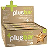Greens+ Plusbar Protein Natural Bars | Non GMO | Soy, Dairy & Gluten Free Nutrition Bars - Box of 12