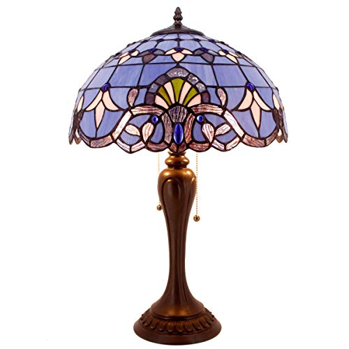 Tiffany Lamp Stained Glass Desk Lamps 24 Inch Tall Blue Purple Lavender Baroque Shade 2 Light Antique Base for Living Room Bedroom Desk Beside Coffee Table Dresser Set S003C WERFACTORY (Tiffany Tables)