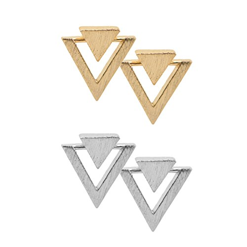 chelseachicNYC Handcrafted Brushed Metal Two Triangle Stud Earrings