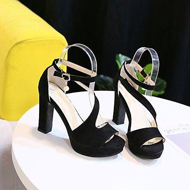 LvYuan Mujer Sandalias Confort Goma Verano Paseo Confort Hebilla Tacón Stiletto Negro Menos de 2'5 cms Black
