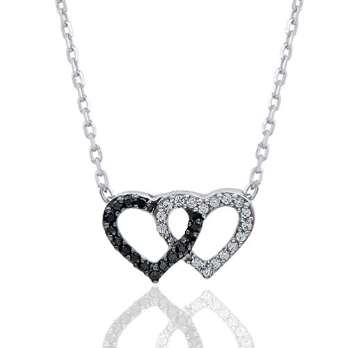 1/10 Carat Natural Diamond Pendant Necklace 925 Sterling Silver (HI Color, I3 Clarity) Diamond Studded Double Heart Pendant Necklace for Women Diamond Jewelry Gifts for Women Diamond Studded Heart Necklace
