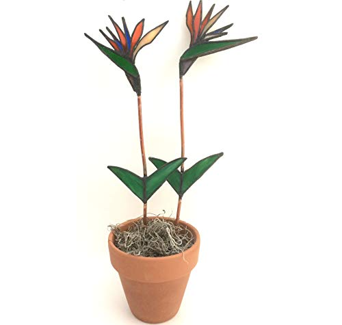 Opalescent Bird - Orange Stained Glass Bird of Paradise Blooms in Pot - Mother's Day Gift