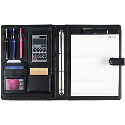 DAPTSY Padfolio Clipboard Folder 4 Ring Binder Magnetic Closure Writing Pad - Document Organizer Resume Holder Work Portfolio with Notebook & Calculator for Interview Business (Calculator For Binder)