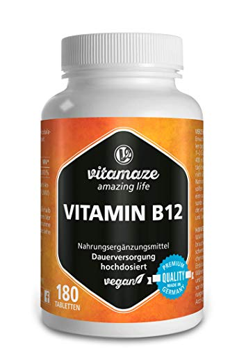 Vitamin B12 hochdosiert Methylcobalamin 180 Tabletten vegan 12 Monatsvorrat Qualitätsprodukt-Made-in-Germany ohne Magnesiumstearat