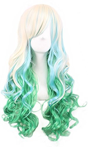 Colorful Dance Costume And Setting (Long Wave Hair Wigs Colorful Lolita Style Anime Cosplay Party Costume Wig + a Free Hairnet (Beige + Light Green) 001BG)