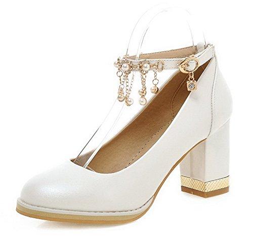 AgooLar Damen Schnalle Rund Zehe Hoher Absatz PU Eingelegt Pumps Schuhe Weiß
