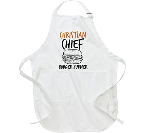 Christian Chief Burger Burner Funny Father's Day Dad Cooking BBQ Kitchen Apron L White - Bbq Christian Apron