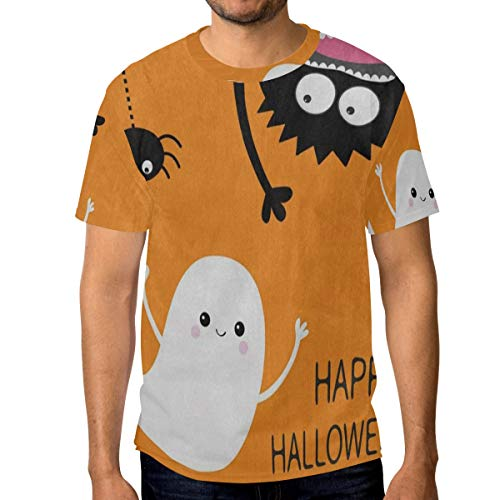 Crewneck Men's T-Shirt Happy Halloween Ghost Bat Classic Humor Novelty Graphic Funny Short Sleeve Tops XXL -