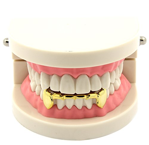 Custom Fit 14k Gold Plated Hip Hop Teeth Fang Grillz Caps Lower Bottom Grill Set (Teeth Lower Grills Removable)