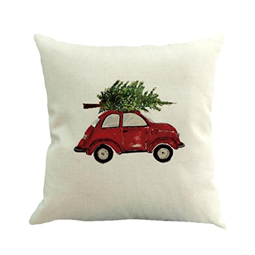 Price comparison product image Challyhope Christmas Tree Car Print Cotton Linen Sofa Car Home Waist Cushion Cover Square Throw Pillow Case (Multicolor C)