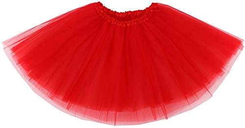 Simplicity Women Adult Classic Elastic 3 Layered Ballet Tulle Tutu Skirt, Red
