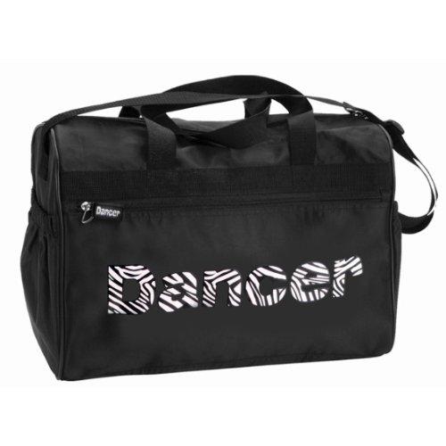 Dual Pocket Zebra - Danshuz Womens Girls Black Zebra Zippered Pockets Dancer Bag