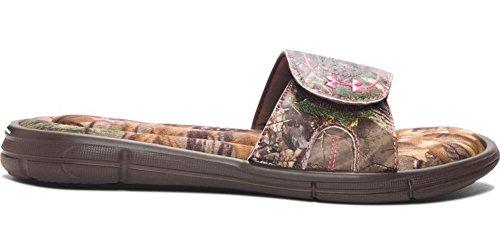 Under Armour Women's Ignite Camo VIII Sl Slide Sandal, Brown/Camo, M US Cleveland Brown/ Perfection