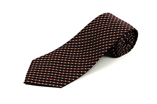 100% Silk Extra Extra Long Black, Red, and Blue Pattern Silk Tie for Tall Men XXL (70-Inch Length, Traditional 3.75-Inch Width)