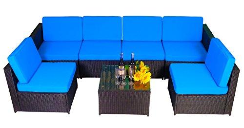 Seating Cozy (MCombo 6085 7 PC Cozy Outdoor Garden Patio Rattan Wicker Furniture Sectional Sofa (Blue))