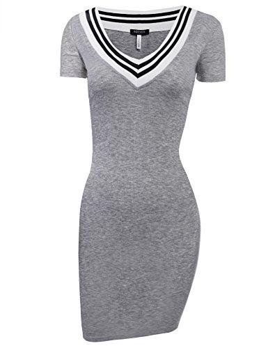 ACEVOG Women's Summer V-Neck Fitted Short Sleeve Knit Ribbed Dress Bodycon Mini Dress