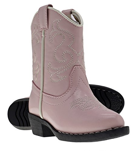 Canyon Trails Kids' Lil Cowboy Pointed Toe Classic Western Boots (Toddler/Little Kid (5 US Toddler, Pink)