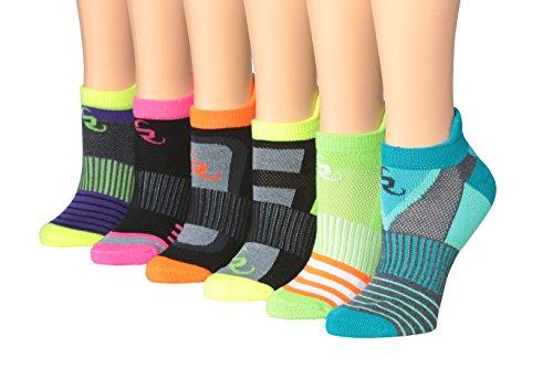 Ronnox Women's 6-Pairs Low Cut Running & Athletic Performance Tab Socks, RLT14-B-SM