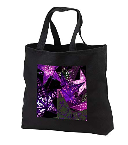 Stamp City - miscellaneous - Purple abstract of star lanterns hanging outside a shop - New Hope, PA - Tote Bags - Black Tote Bag JUMBO 20w x 15h x 5d (tb_302457_3) ()