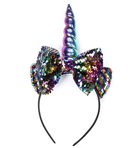 (Children's Unicorn Headband Party Simulation Flower Hair Accessories Flip Fish Scale Bow Horn Hair)