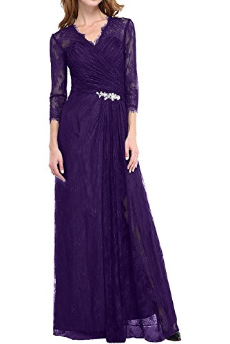 DressyMe Women's Evening Dresses Long Sleeves Lace Maxi A-Line Pleated-16-Regency