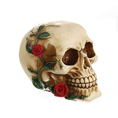 AAA&LIU Halloween Red Roses Skull Skeleton Head Figurine Statue Horror Decoration Prop New]()