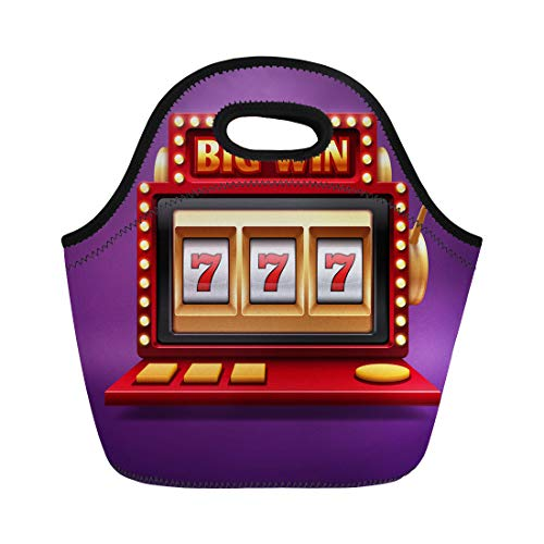 Semtomn Lunch Tote Bag Jackpot Slot Casino Machine One Arm Bandit for Lucky Reusable Neoprene Insulated Thermal Outdoor Picnic Lunchbox for Men Women ()