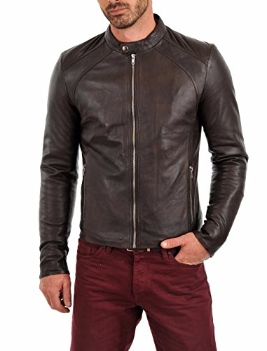 Leather Genuine Bomber Jacket - Mens Leather Jacket Bomber Motorcycle Biker Real Lambskin Leather Jacket for Mens Brown