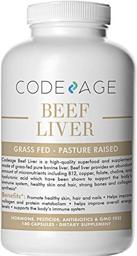 Codeage Grass Fed Beef Liver Desiccated, Natural Iron, Vitamin A, D, K, E, B12 for Energy, CoQ10, Choline, Folate, 3000mg per Servings, 180 Capsules